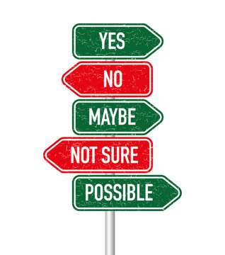 Yes, no, maybe, not sure and possible signpost