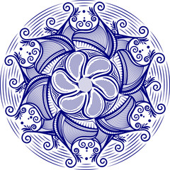 Round asymmetrical decorative element - lace mandala in zentangl