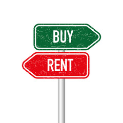 Buy and rent signpost