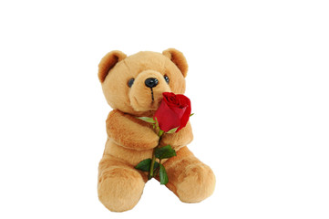 Bear doll holding a rose