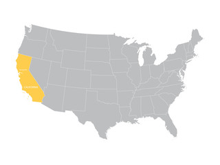 vector map of United States with indication of California