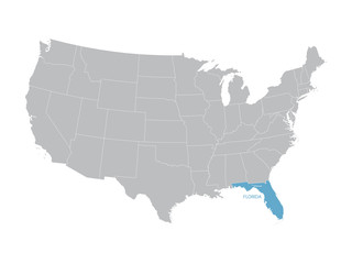 vector map of United States with indication of Florida