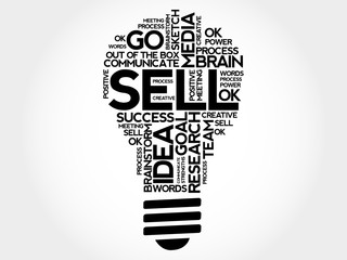 Sell bulb word cloud, business concept