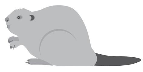 Beaver Grayscale Vector Illustration