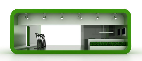 Empty booth, isolated on white. Original 3d illustration.
