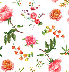 Vintage style watercolour roses seamless background pattern