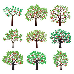 Set of Color Apple Trees. Vector Illustration.
