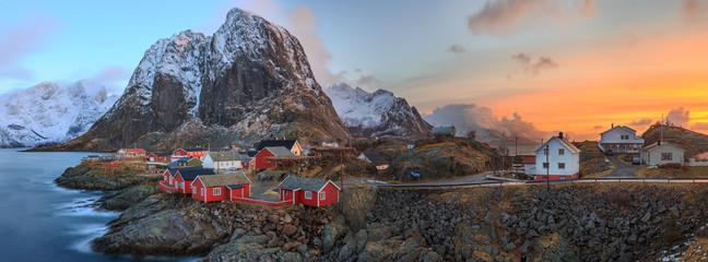 Sunrise in Reine fishing village in Lofoten Islands, Norway