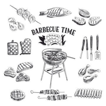 Vector set of barbecue and grill elements. Vector illustration i