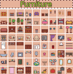 Furniture set for rooms of house. Game objects