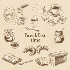Vector breakfast hand drawn set. Vintage illustration.