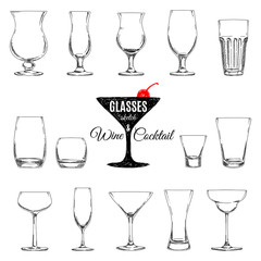 Vector set of different glasses for drinks.