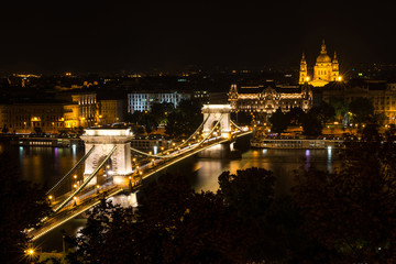 Chain Bridge and St. Stephen's Basilica at night, Budapest