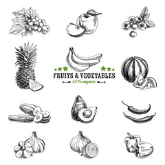Vector set of fruit and vegetables.