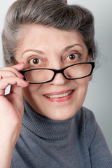 Portrait of senior lady wearing glasses