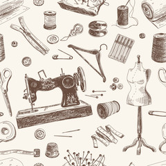 Vector seamless pattern with hand drawn sewing and knitting tool