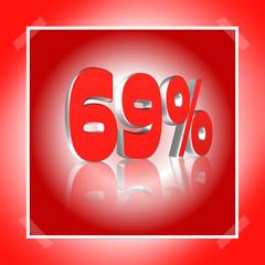 3D Prozentangabe und Prozentzeichen in Rot mit Spiegelung