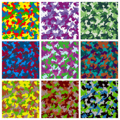 Set of seamless camouflage pattern