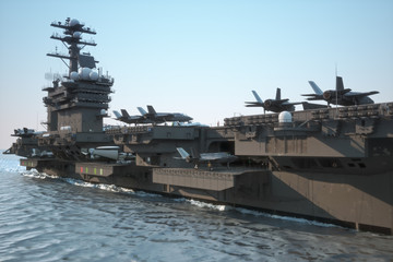 Navy aircraft carrier angled view, with a large compartment of jet aircraft and crew.