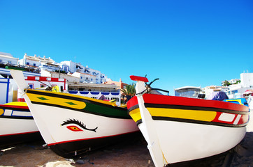 fishing boats on the beach, Algarve, Portugal