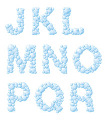 Vector bubble foam font, from J to R