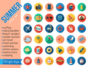 Set of colorful summer vacation, beach, seaside marine icons