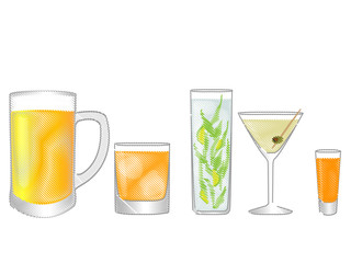 Isolated Drinks Pencil Style 1