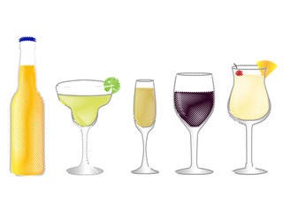 Isolated Drinks Pencil Style 2
