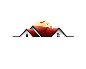 realestate red roof house with birds