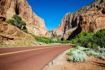 Road into Kolob Canyons section of Zion National Park in southern Utah