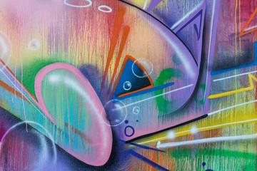 close-up detail of graffiti painting