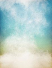 Wall Mural - An abstraction of fog and clouds on a textured paper background with a pastel color gradient.  Image displays significant paper grain and texture at 100 percent.