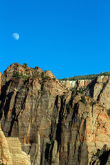 Zion National Park, moonrise over Kolob Canyons