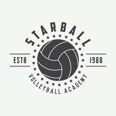 Vintage volleyball label, emblem or logo.