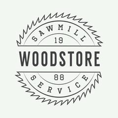 Vintage sawmill label, emblem, logo or badge