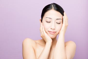 attarctive asian woman skincare image