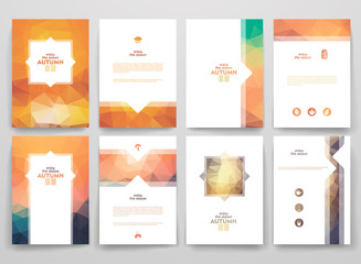 Set of brochures in poligonal style on Autumn theme.