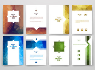 Set of brochures in poligonal style on delivery theme.