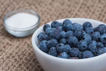 Blueberries and sugar