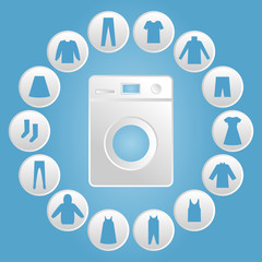 Washing machine with clothes Icon