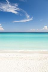 Printed roller blinds Caribbean Shore of classic turquoise Caribbean Sea dream beach under bright blue sky near the resort town of Varadero, Cuba
