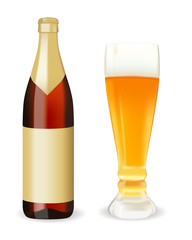 A bottle of beer and a glass