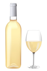 Bottle of white wine with a glass