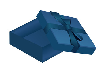 Open gift box with blue ribbon bow on the cover