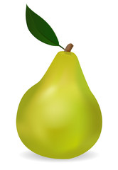Pear with a green leaf