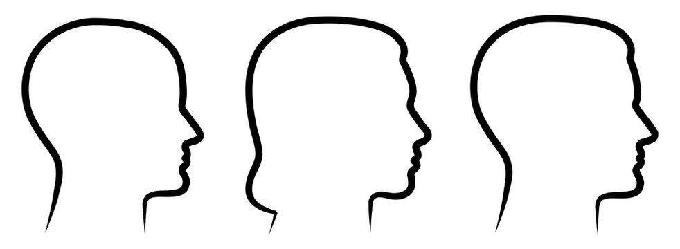 Set: 3 menschliche Vektor-Gesichter im Profil: weiblich, männlich, geschlechtsneutral / Vektor, handgezeichnet, schwarz-weiß