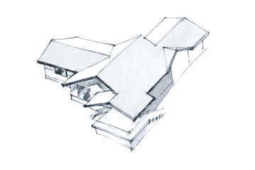 contemporary aerial perspective sketch of a house building in black and white