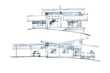 freehand sketch of a residential place with verandah and parking places