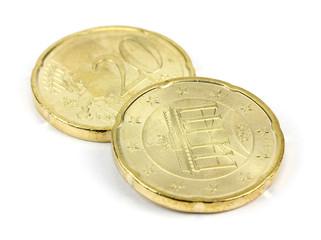 euro cent on white background.