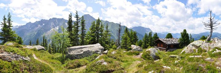 Panoramafoto Zillertaler Alpen / Österreich Wall mural